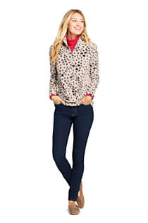 Women's Petite Print Quarter Zip Fleece Pullover Top, alternative image