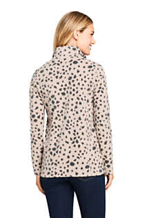 Women's Petite Print Quarter Zip Fleece Pullover Top, Back