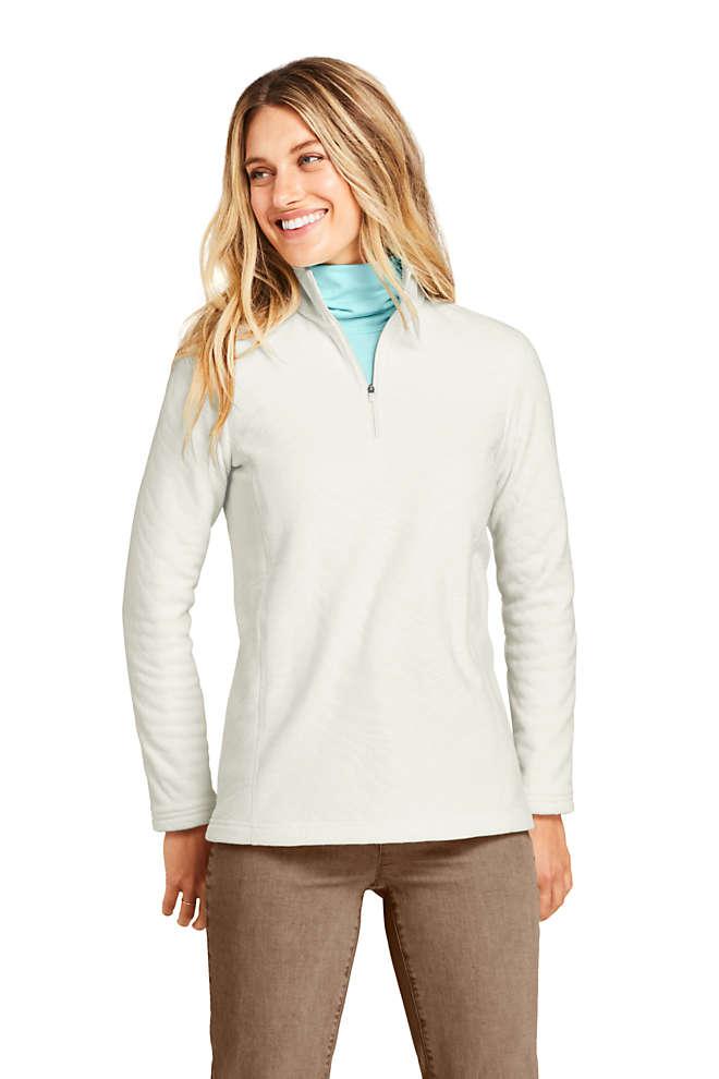 Lands' End Women's Print Quarter-Zip Fleece Pullover Top
