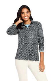 Women's Print Quarter Zip Fleece Pullover Top