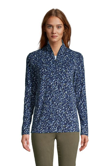 Women's Print Quarter Zip Fleece Pullover Top