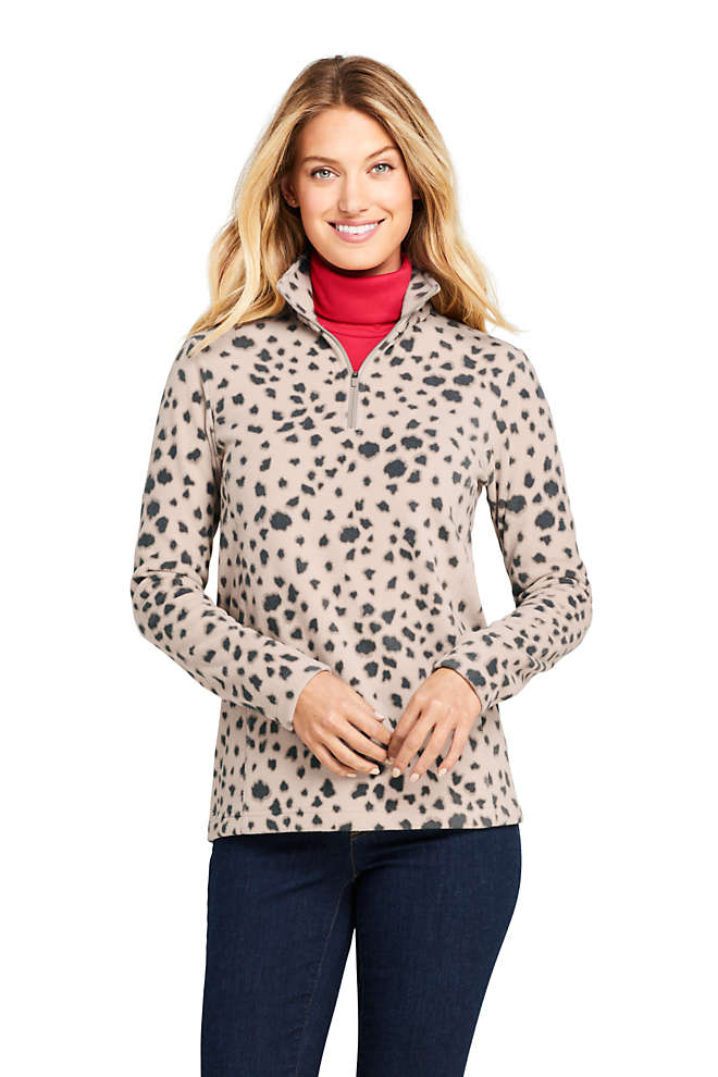 Women's Petite Print Quarter Zip Fleece Pullover Top, Front