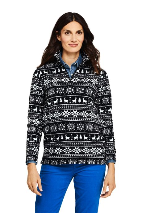Women's Petite Print Quarter Zip Fleece Pullover Top