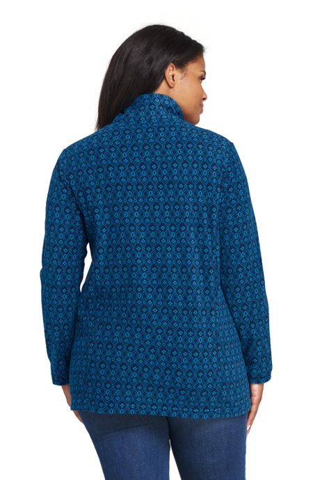 Women's Plus Size Print Quarter Zip Fleece Pullover
