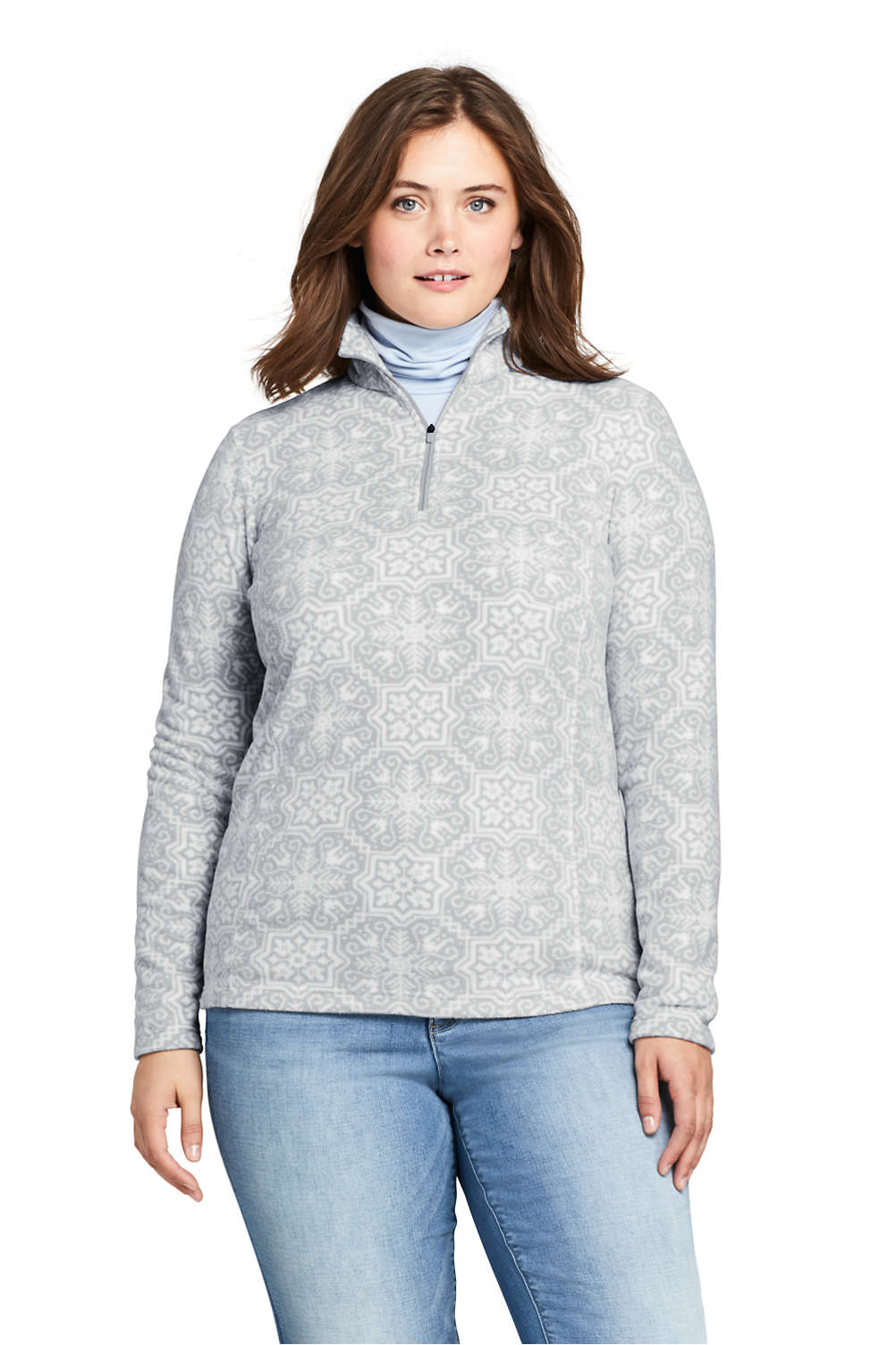 b9beb8cd3729f Women s Plus Size Print Quarter Zip Fleece Pullover from Lands  End