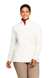 Women's Plus Size Print Quarter Zip Fleece Pullover Top, Front