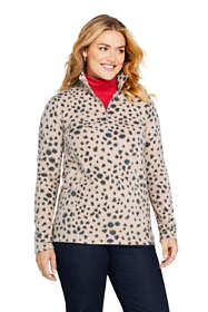 Women's Plus Size Print Quarter Zip Fleece Pullover Top