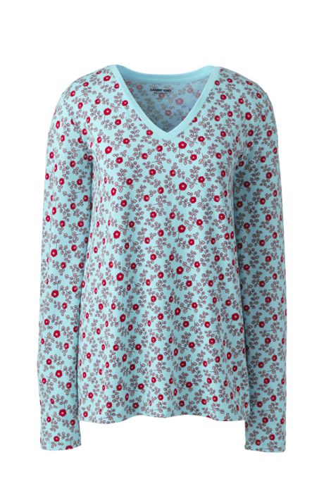 Women's Petite Relaxed Supima Cotton Long Sleeve V-neck T-Shirt Print