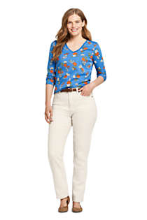 Women's Tall Relaxed Supima Cotton Long Sleeve V-neck T-Shirt Print, Unknown