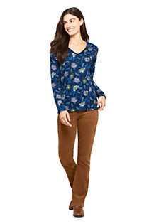 Women's Petite Relaxed Supima Cotton Long Sleeve V-neck T-Shirt Print, alternative image