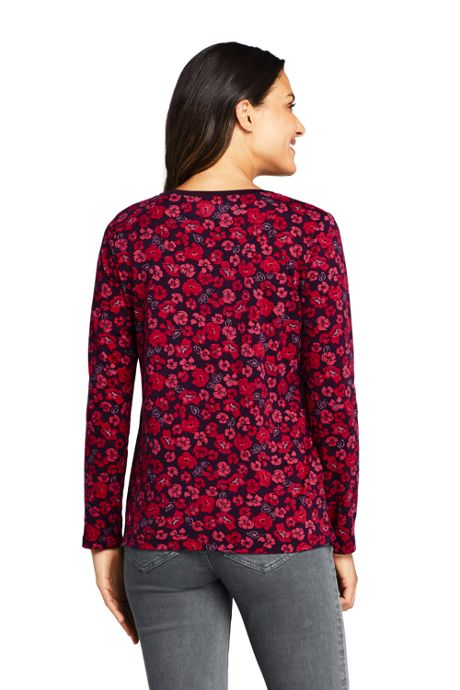 Women's Petite Relaxed Supima Cotton Long Sleeve V-neck T-Shirt Print
