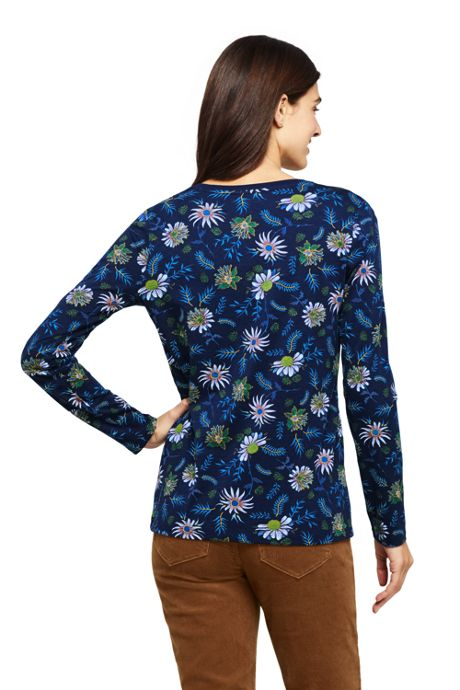 Women's Tall Relaxed Supima Cotton Long Sleeve V-neck T-Shirt Print