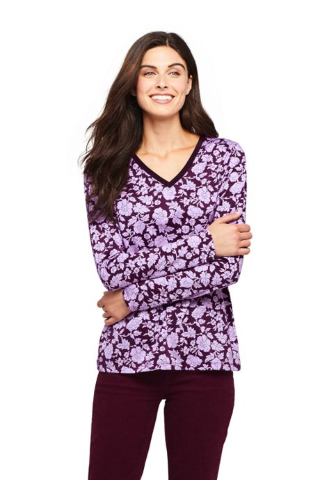 Women's Relaxed Supima Cotton Long Sleeve V-neck T-Shirt Print