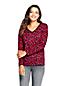 Gemustertes Supima-Shirt mit V-Ausschnitt für Damen