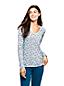 T-Shirt Imprimé Coton Supima Col V, Femme Stature Standard