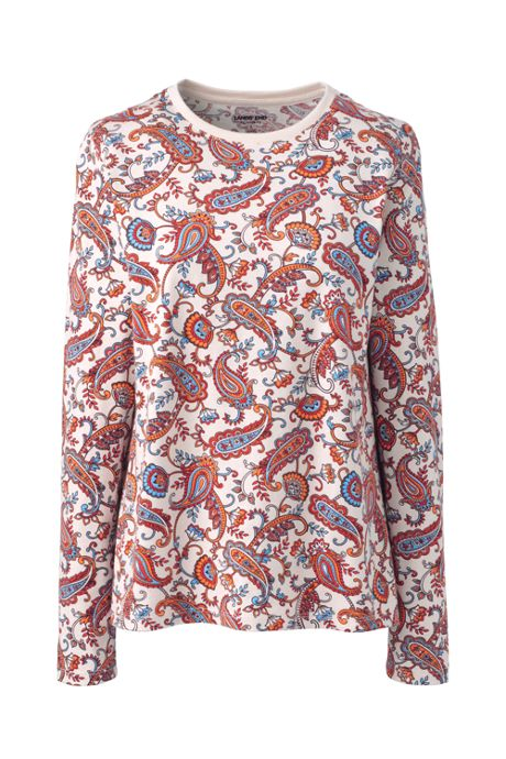 Women's Relaxed Supima Cotton Long Sleeve Crewneck T-Shirt Print