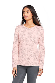 Women's Supima Long Sleeved Patterned Crew Neck T-shirt
