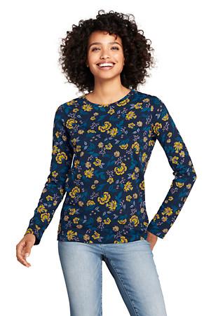 0ff3fe1719 Women's Supima Long Sleeved Patterned Crew Neck T-shirt | Lands' End