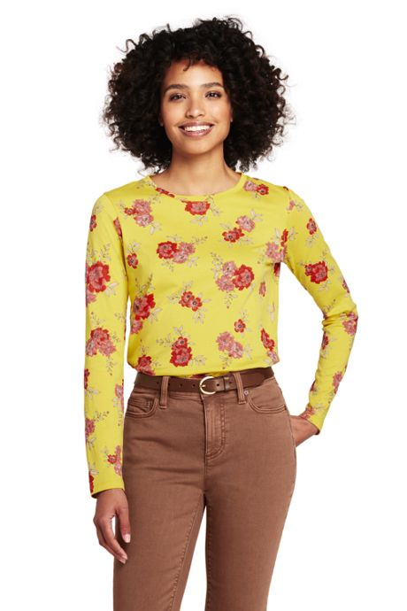 Women's Petite Supima Cotton Long Sleeve T-shirt - Relaxed Crewneck Print
