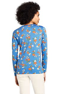 Women's Petite Relaxed Supima Cotton Long Sleeve Crewneck T-Shirt Print, Back