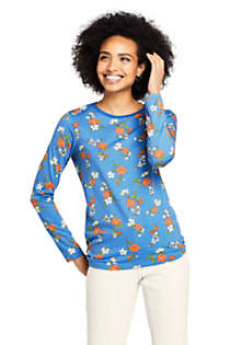 Women's Petite Relaxed Supima Cotton Long Sleeve Crewneck T-Shirt Print, Front