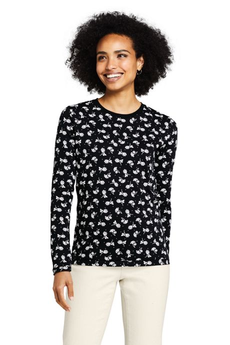 Women's Tall Relaxed Supima Cotton Long Sleeve Crewneck T-Shirt Print