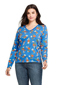Women's Plus Size Petite Relaxed Supima Cotton Long Sleeve V-Neck T-Shirt Print