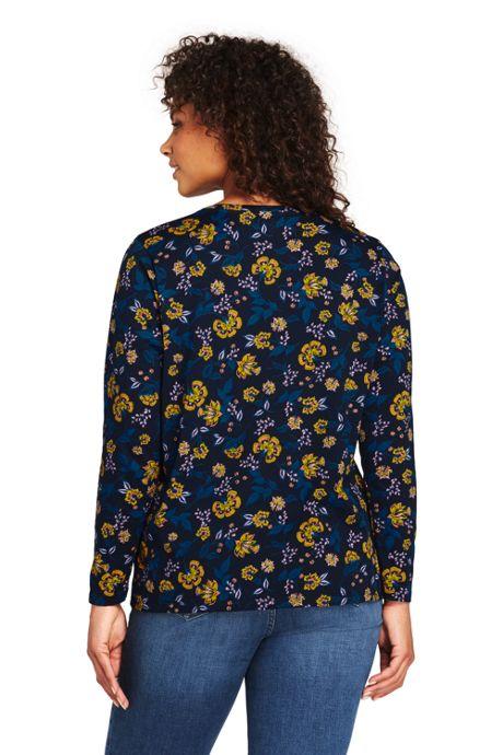 Women's Plus Size Petite Supima Cotton Long Sleeve T-shirt - Relaxed Crewneck Print
