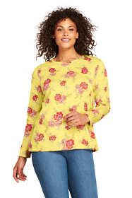 Women's Plus Size Supima Cotton Long Sleeve T-shirt - Relaxed Crewneck Print