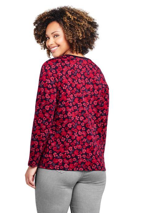 Women's Plus Size Relaxed Supima Cotton Long Sleeve Crewneck T-Shirt Print