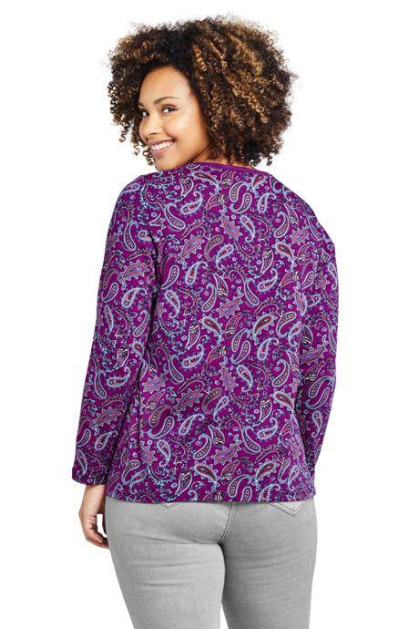 Women's Plus Size Petite Relaxed Supima Cotton Long Sleeve Crewneck T-Shirt Print