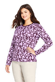 Women's Plus Size Petite Relaxed Supima Cotton Long Sleeve Crewneck T-Shirt Print