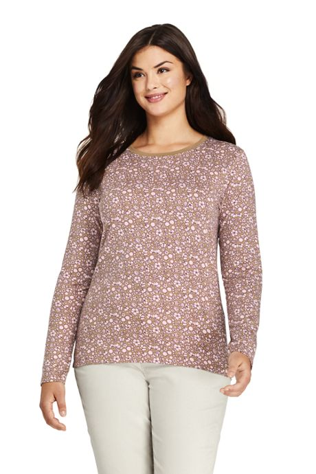 Women's Plus Size Relaxed Supima Cotton Long Sleeve Crewneck T-Shirt Print