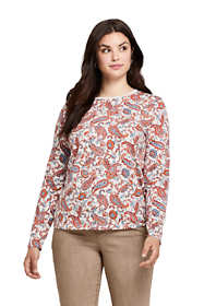 Women's Plus Size Petite Supima Cotton Long Sleeve T-shirt - Relaxed Crewneck Print