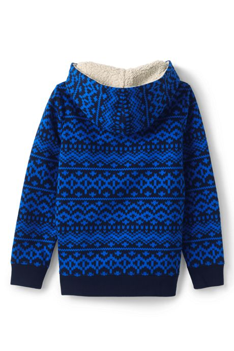 Toddler Boys Pattern Sherpa Lined Hoodie