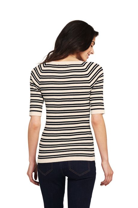 Women's Petite Cotton Elbow Sleeve Scoop Neck Sweater