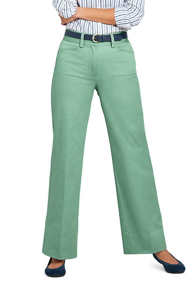Women's Mid Rise Chino Wide Leg Pants, Front