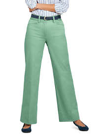 Women's Petite Mid Rise Chino Wide Leg Pants