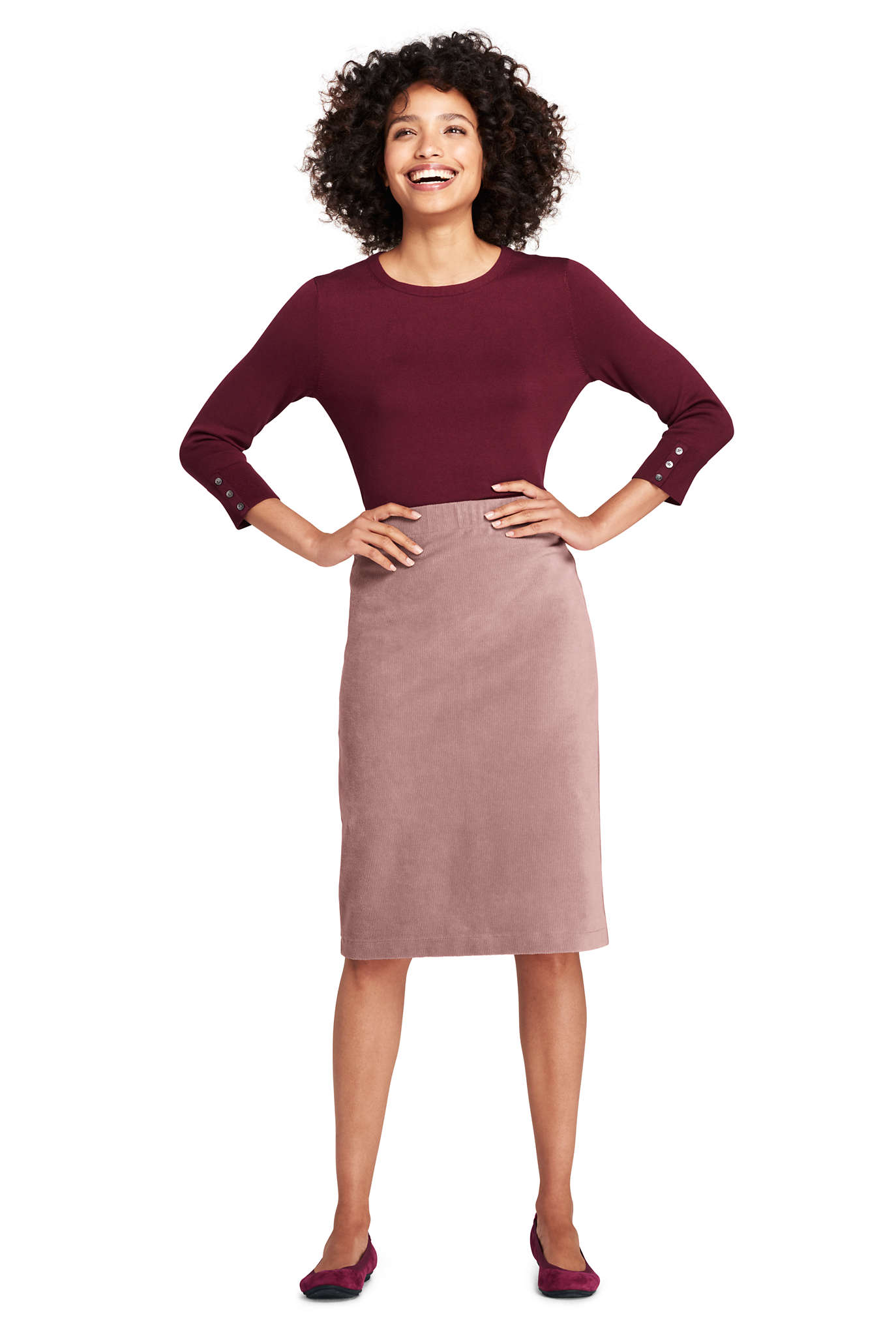 Women's Ponte Knit Midi Skirt