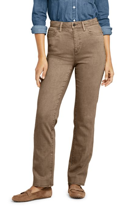 Women's Petite High Rise Straight Leg Jeans - Color