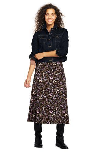 Women's Floral Ponte Jersey Midi Skirt