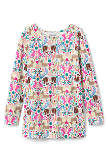 Girls' Ruffle Back Patterned Tunic Top