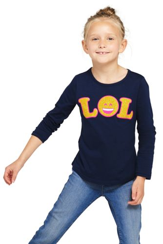 Girls' Long Sleeve Novelty Knit Graphic Tee