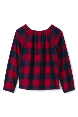 Lands' End - Girls' Gathered Neck Flannel Top - 2