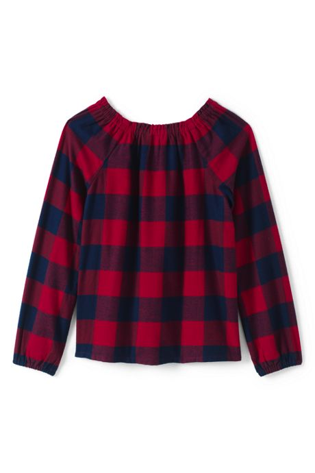 Girls Gathered Neck Flannel Top