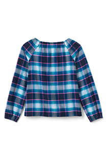 Girls Gathered Neck Flannel Top, Back