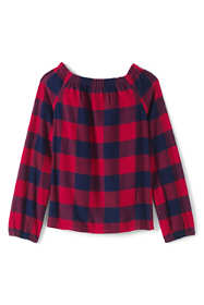 Little Girls Gathered Neck Flannel Top