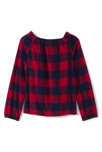 Girls' Gathered Neck Flannel Top