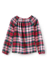 Girls Plus Gathered Neck Flannel Top