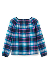 Girls Gathered Neck Flannel Top, Front